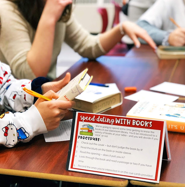 Speed dating with books: this is the perfect activity to introduce reading workshop or independent reading.