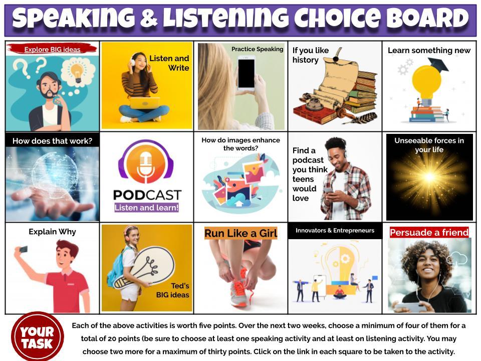 speaking choice board